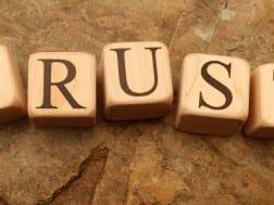 Trust spelled in blocks